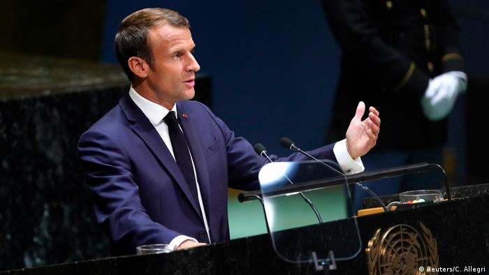 French President Emmanuel Macron addresses the 74th session of the United Nations General Assembly