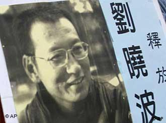 A picture of Liu Xiaobo is being held by protesters