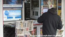 bulgarische Zeitungen zum Verkauf an einem Kiosk in Sofia / Bulgarian newspapers displayed for sale at a kiosk in Sofia, Foto: Robert B. Fishman, , 23.3.2019 | Verwendung weltweit