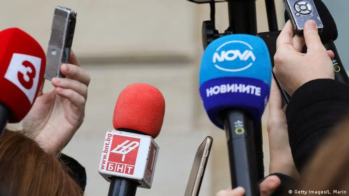 Bulgarien Medien Reporter Mikrofone
