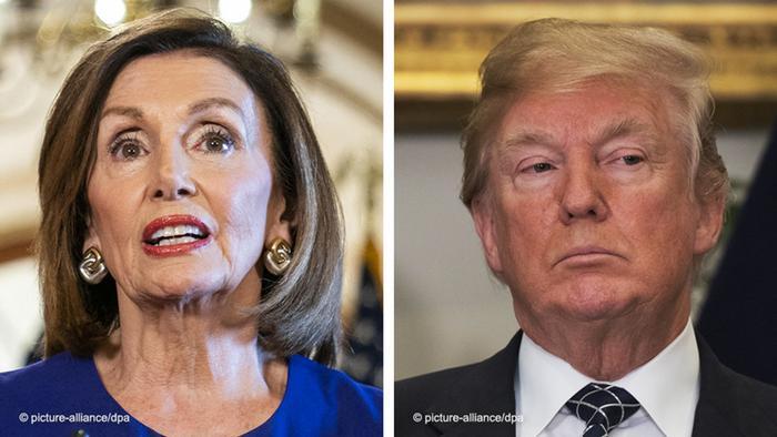Bildkombo Nancy Pelosi und Donald Trump Impeachment