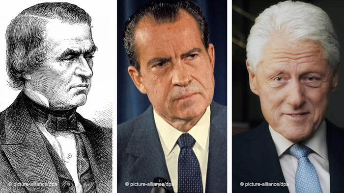 De izqda. a dcha.: Andrew Johnson, Richard Nixon y Bill Clinton.