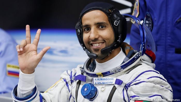 Hazzaa Al-Mansoori gestures before the launch in Kazakhstan