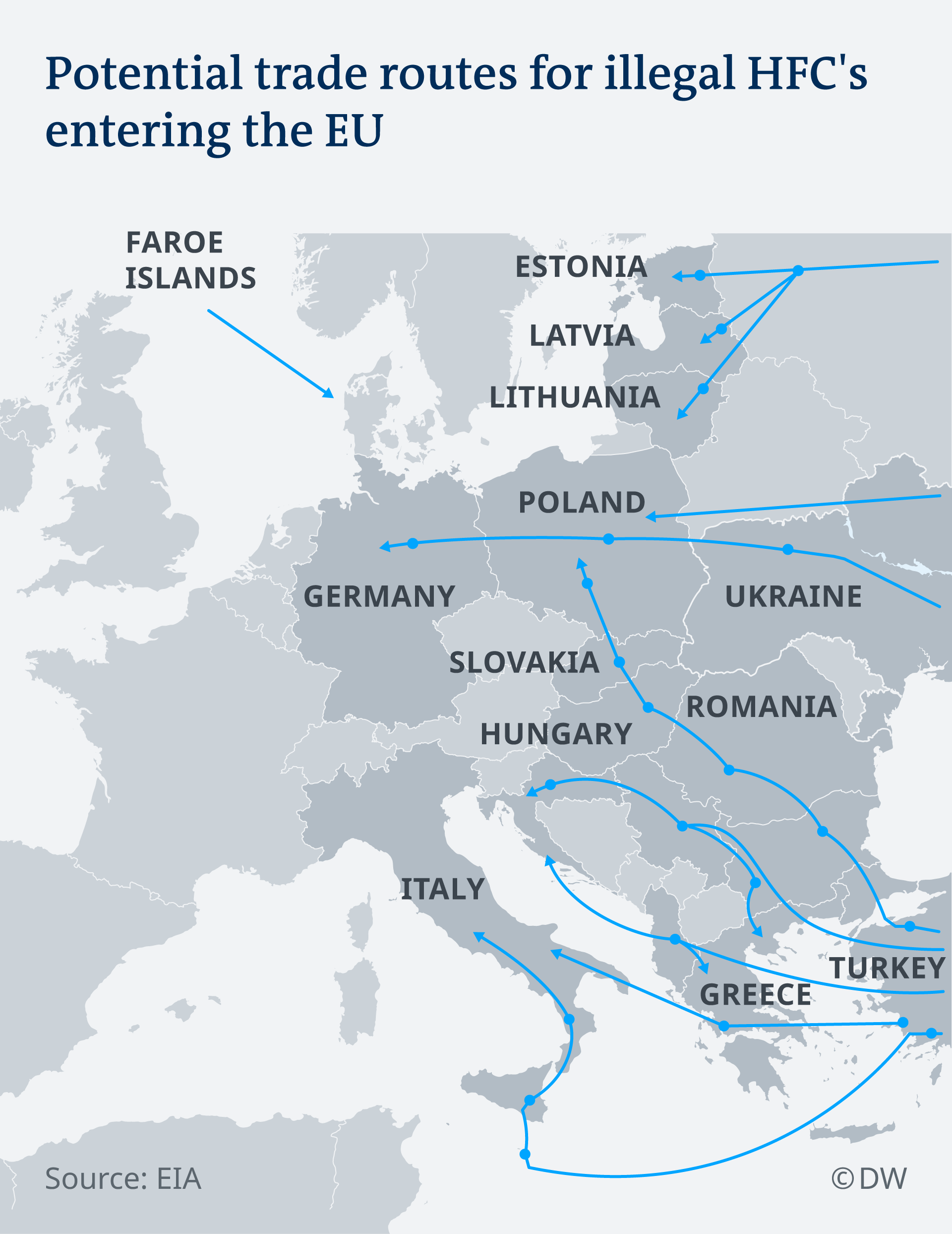Infografic depicting map of illegal HFC imports in Europe