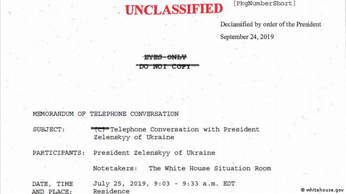 USA Weißes Haus | Protokoll Telefonat Donald Trump & Wolodymyr Selenskyj, Ukraine (whitehouse.gov)