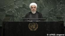 September 25, 2019*** NEW YORK, NY - SEPTEMBER 25: President of Iran Hassan Rouhani addresses the United Nations General Assembly at UN headquarters on September 25, 2019 in New York City. World leaders from across the globe are gathered at the 74th session of the UN General Assembly, amid crises ranging from climate change to possible conflict between Iran and the United States. Drew Angerer/Getty Images/AFP == FOR NEWSPAPERS, INTERNET, TELCOS & TELEVISION USE ONLY ==