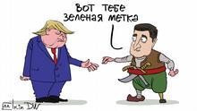 Karikatur von Sergey Elkin zu Folgen des Telefonats mit Selenskij für Trump. Russisch