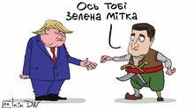 Karikatur von Sergey Elkin zu Folgen des Telefonats mit Selenskij für Trump. - Ukrainisch