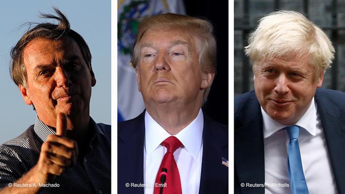 Da esq. para direita, Bolsonaro, Trump e Johnson