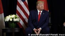 President Donald Trump talks while meeting with Japanese Prime Minister Shinzo Abe at the InterContinental Barclay New York hotel during the United Nations General Assembly, Wednesday, Sept. 25, 2019, in New York. (AP Photo/Evan Vucci) |