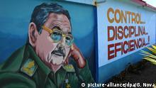 Mural com retrato de Raúl Castro
