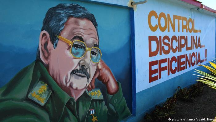 Kuba Wandbild Raul Castro in Havanna