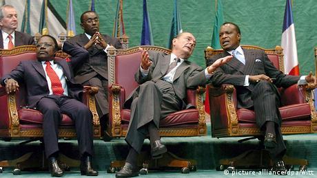 Jacques Chirac, en 2005, aux côtés d'Omar Bongo et de Denis Sassou Nguesso