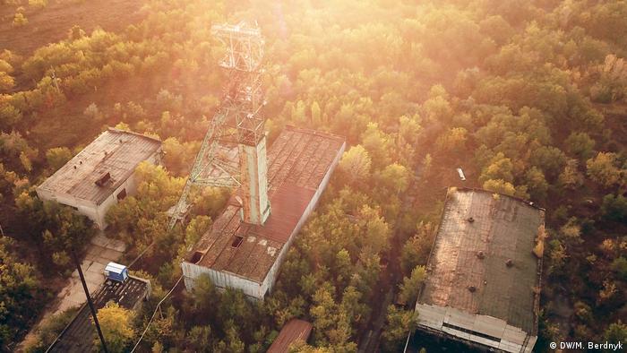 Вид на шахту Золотое с высоты птичьего полета