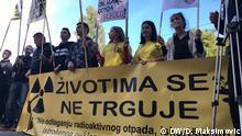 Die Demo gegen Atommuell auf der bosnisch-kroatischen Grenzen. Der Autor ist Dragan Maksimovic Stichwort: Atommuell, Maksimovic, Demo
