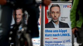 Баннер с портретом Херберта Кикля и надписью Без нас Курц накренится влево