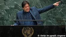 27.09.2019 NEW YORK, NY - SEPTEMBER 27: Prime Minister of Pakistan Imran Khan addresses the United Nations General Assembly at UN headquarters on September 27, 2019 in New York City. World leaders from across the globe are gathered at the 74th session of the UN General Assembly, amid crises ranging from climate change to possible conflict between Iran and the United States. (Photo by Drew Angerer/Getty Images)