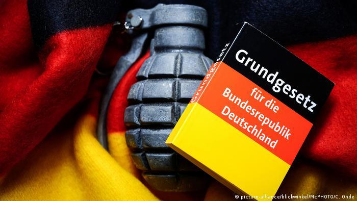 Handgranate mit Deutschlandfahne und Grundgesetz, Extremismus in Deutschland