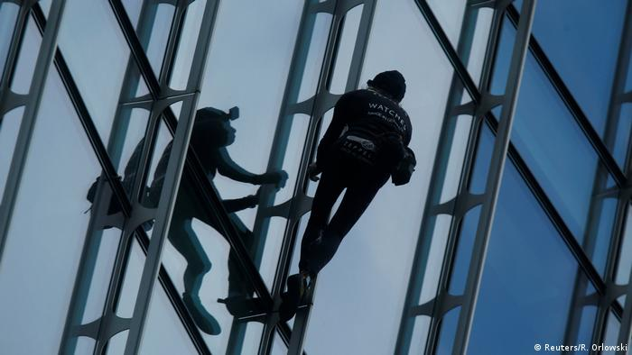 French urban climber Alain Robert, also known as The French Spiderman, climbs the Skyper building in Frankfurt