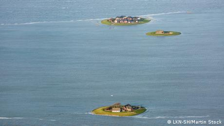 View from above of Hallig islands at Landunter