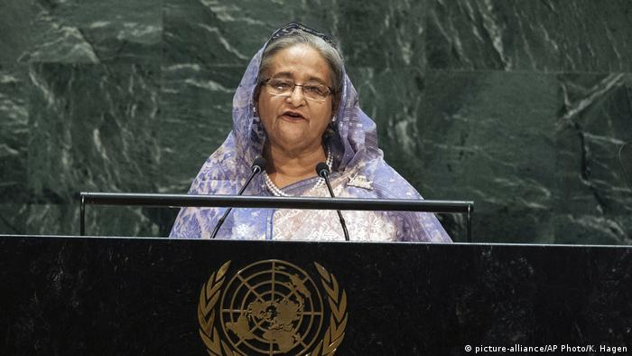 Sheikh Hasina talking before the UN General Assembly