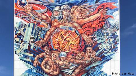 Pintura colorida a favor do uso pacífico da energia nuclear