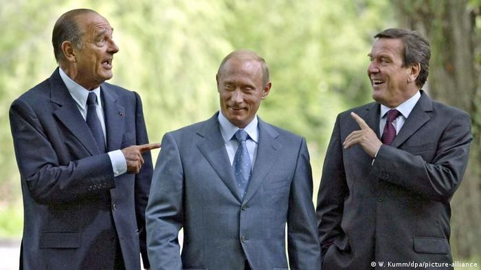 Chirac, Putin y Schröder en 2004.