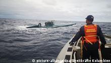 Imagen referencial de un submarino cargado con droga descubierto frente a las costas colombiana.