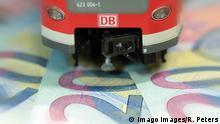 Symbolbild DB Deutsche Bahn auf Euro Geldscheinen