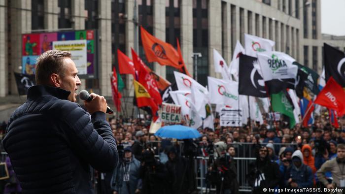Russland Moskau Proteste Rede Nawalny (Imago Images/TASS/S. Bobylev)
