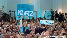 Supporters of Austrian Peoples Party (OeVP) Sebastian Kurz react after the close of the polling stations in Vienna, Austria September 29, 2019. REUTERS/Leonhard Foeger