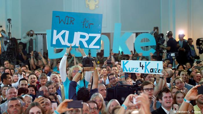 Supporters of the Austrian People's Party gather holding signs