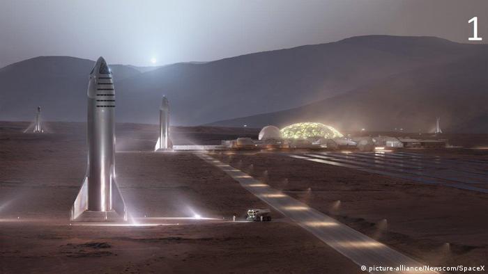 SpaceX tarafından geliştirilen uzay aracı Starship'leri Mars'ta kurulan bir üste gösteren ilüstrasyon