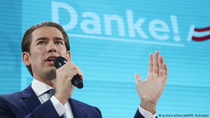 Político austríaco Sebastian Kurz fala ao microfone, diante de tela com Obrigado! em alemão