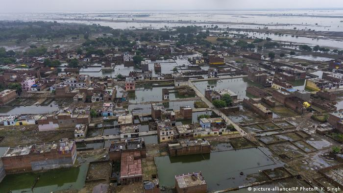 Houses flooded in the northern Indian state of Uttar Pradesh