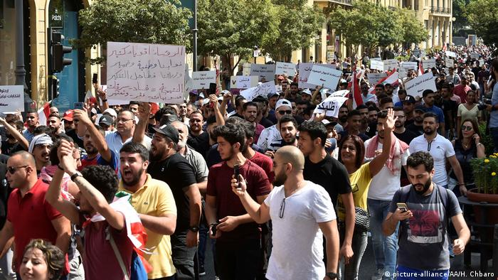 Lebanese taking their protest to Martyrs' Square in Beirut, protesting against increasingly difficult living conditions