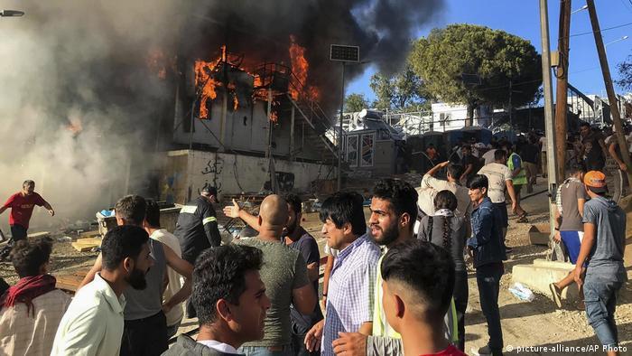 Griechenland Lesbos Moria Camp Flüchtlinge Brand Feuer