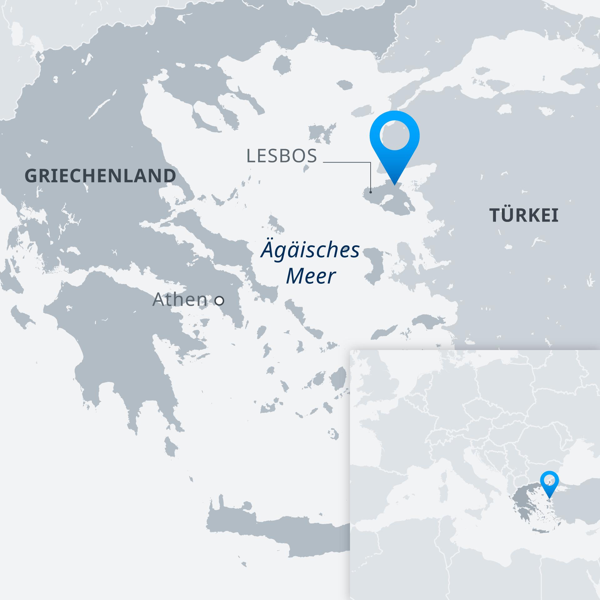 Karte Griechenland Lesbos DE