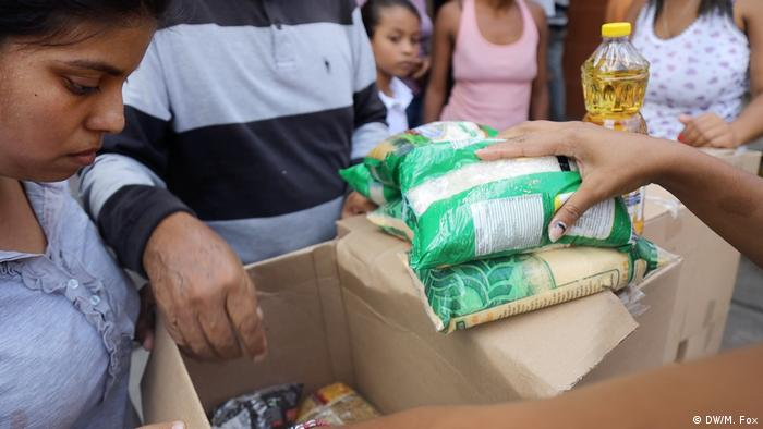 Food items being handed out to Venezuelans
