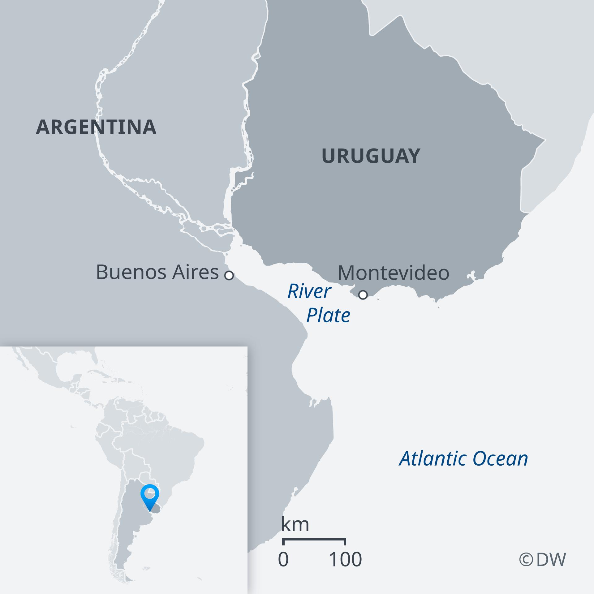 Karte Uruguay Argentina River Plate EN