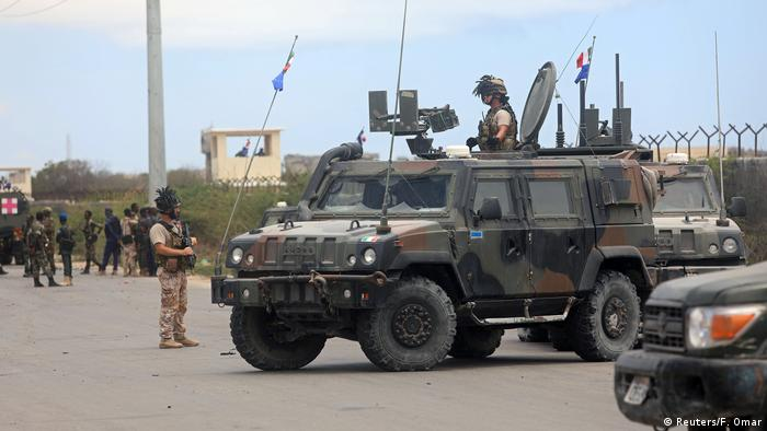 Italian security forces near the site of at attack in Mogadishu