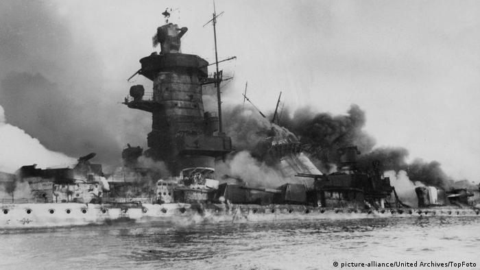 The Admiral Graf Spee battle cruiser in flames off Montevideo