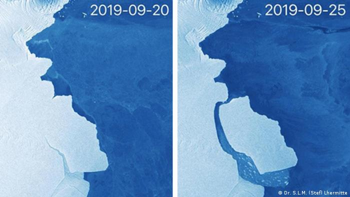 Satellite before-and-after pictures of the iceberg breaking off (Dr. S.L.M. (Stef) Lhermitte)