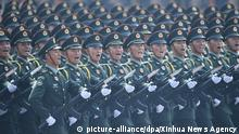 (191001) -- BEIJING, Oct. 1, 2019 (Xinhua) -- A formation of the People's Liberation Army (PLA) Army takes part in a military parade during the celebrations marking the 70th anniversary of the founding of the People's Republic of China (PRC) at the Tian'anmen Square in Beijing, capital of China, Oct. 1, 2019. (Xinhua/Liu Xiao)   Keine Weitergabe an Wiederverkäufer.