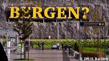 Norwegen Bergen   Schriftzug am Flughafen