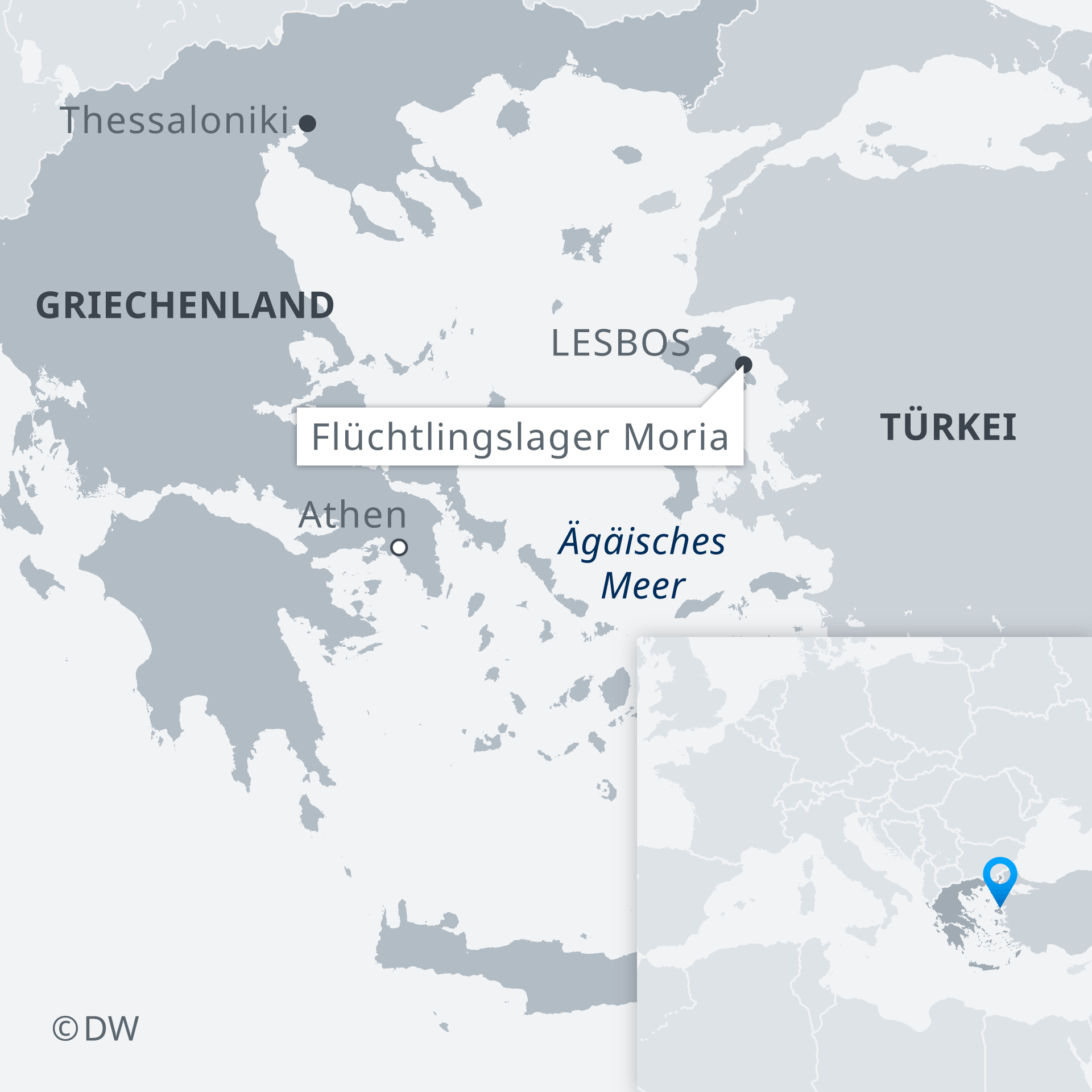 Karte Griechenland Flüchtlingslager Moria Lesbos DE