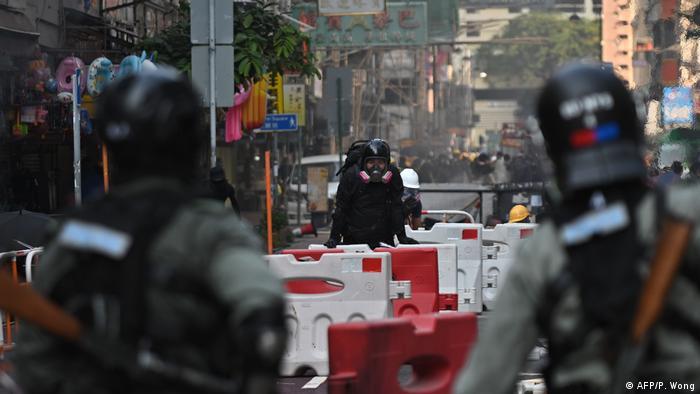 Barricades in Tsuen Wan district in Hong Kong