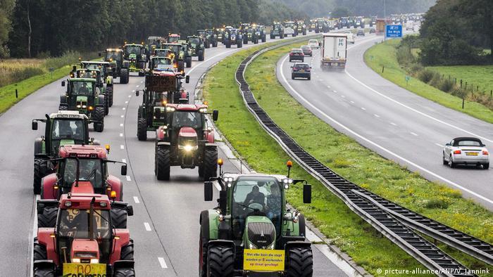 A caravan of tractors headed to The Hague
