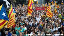 Thousands of secession supporters march during a demonstration in Barcelona, Spain, Tuesday Oct. 1, 2019. Larger protests were scheduled later in the day amid heightened security measures across the wealthy Catalonia region of 7.5 million people, where separatist sentiment has been on the rise for nearly a decade. (AP Photo/Emilio Morenatti)