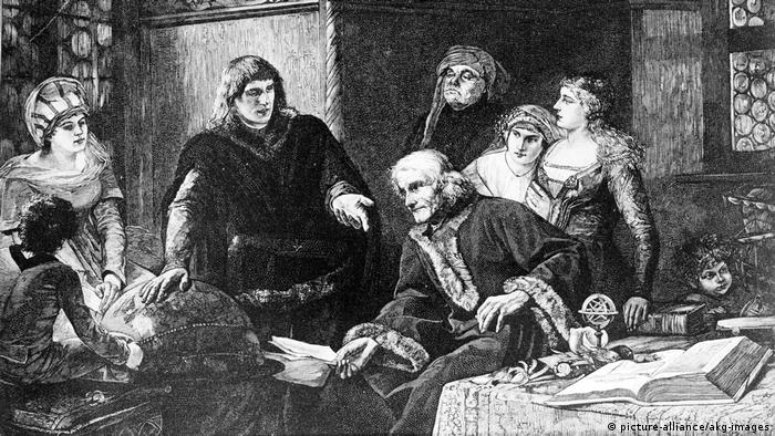 Мартин Бехайм объясняет свой глобус. Гравюра 1883 года